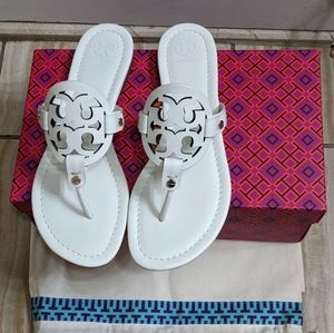 Tory Burch Miller White Thong Sandals